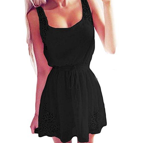 Damen ärmellos U-bootausschnitt Elegant Gürtel Dünn Swing Faltenrock Kleid Cocktailkleid Freizeitkleid Partykleid Abschlussballkleid Sommerkleider Schwarz