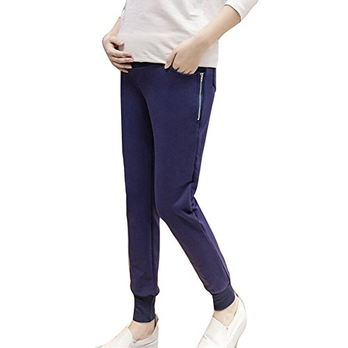 Hibote Pregnant Sport Casual Pantalon grande taille Care Belly Pant Bleu foncé