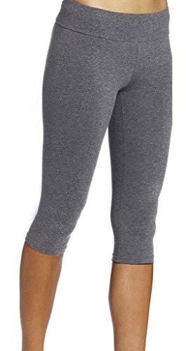 Neonysweets Legging Capris Femme Pantacourt Jogging Yoga Entraînement Coton Noir Taille Normale Gris