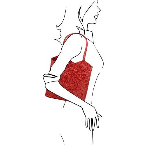 Tuscany Leather Patty Borsa donna convertibile a zaino in pelle stampa floreale - TL141676 (Rosso) Rosso Lipstick