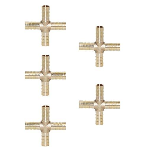 Baoblaze 5pcs Messing Kreuz Schlauchkupplung Schnellkupplung Gewinde Kupplung Adapter - 10 mm