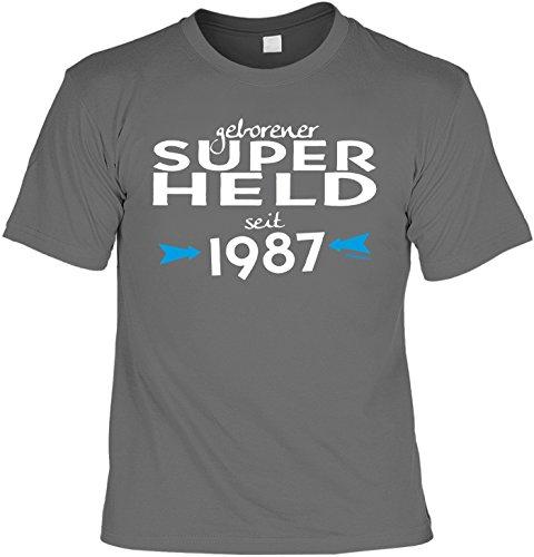 T-Shirt zum Geburtstag: Geborener Super Held seit 1987 - Tolle Geschenkidee - Baujahr 1987 - Farbe: anthrazit Anthrazit