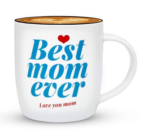 Gifffted tazza da tè e caffe per mamma, numero 1, regalo di compleanno per mamma, idee regali anniversario, festa della mamma e natale, san valentino per lei, ceramica, 13 ounce mug