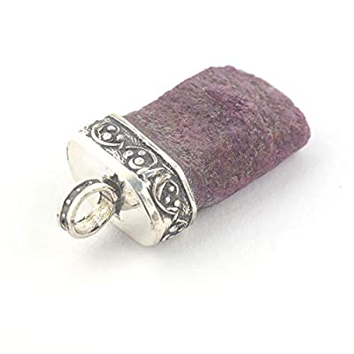 Pendentif de cristal Rubis serti d'argent 925, 19x11x7 mm cca.