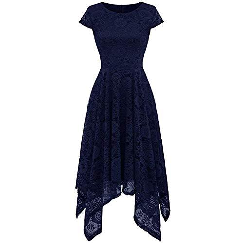 nt Kleid aus Spitze Damen Unregelmässig Vokuhila Kleid Vorne Kurz Hinten Lang,Kleid zur Hochzeit Gast/Brautjungfer,Langarm | Kurzarm | Ohne ärmel ()