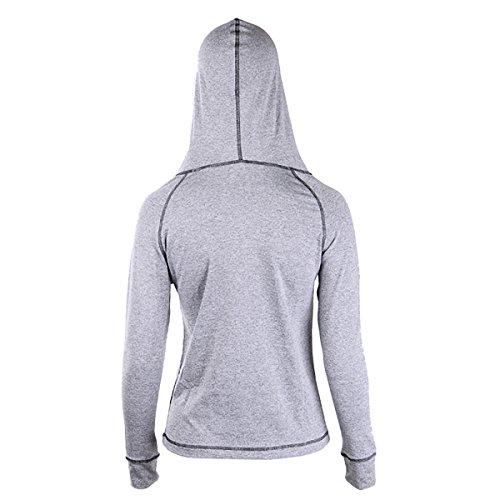 EUFANCE Donne Zip Up Felpa con Cappuccio di Sport in Palestra Giacca Fitness Yoga Tuta Grigio scuro