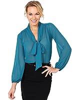 KRISP SALE Damen Transparente Chiffon Bluse mit Schleife Schluppenbluse