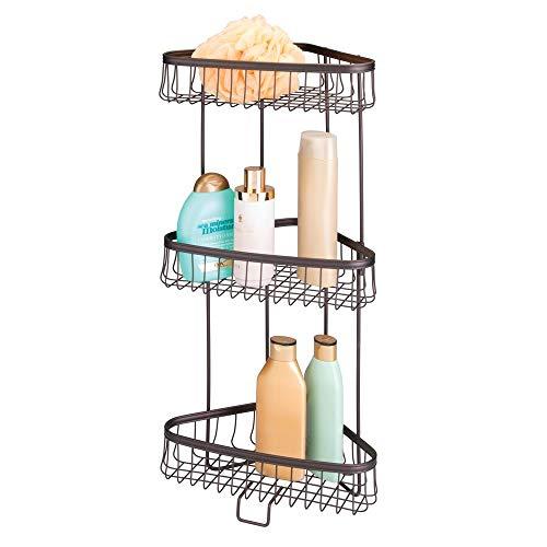 mDesign Eckregal Bad freistehend - praktisches Badregal mit 3 Ebenen zur Aufbewahrung von Shampoo, Duschgel, Handtüchern & Co. - perfektes Duschregal aus Metall - bronzefarben - 3-tier-handtuch-regal