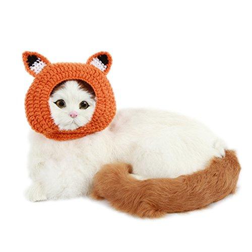SWEET DEVIL Hund Katze Weihnachten Hut Weihnachten Kostüm Wollmütze für Katze Welpe Haustier Cosplay Kostüm,Fuchs