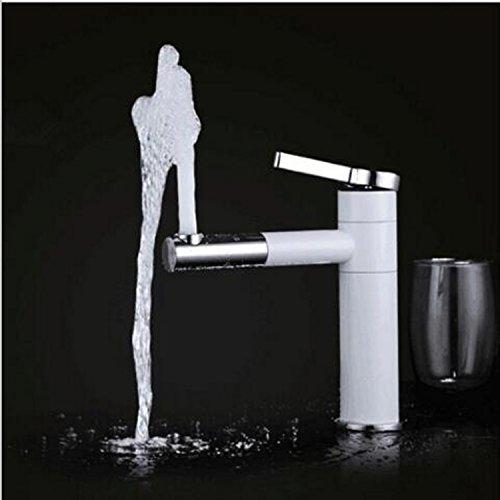 Homelody – Elegante Einhebel-Waschtischarmatur, ohne Ablauf, 2-facher Schwenkauslauf 360°, Weiß-Chrom - 2