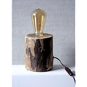 Kunst Holz Edison Holz Lampe und Bernstein Edison Glühbirnen, Steckdose mit Ein / Ausschalter