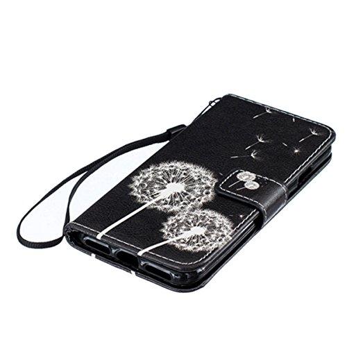 iPhone 7 Hülle,SainCat iPhone 7 Ledertasche Handyhülle Brieftasche im BookStyle Erleichterung Pfaublume Muster PU Leder Hülle Wallet Case Folio Schutzhülle Lederhülle Ledercase Scratch Bumper Handytas Weißer Löwenzahn