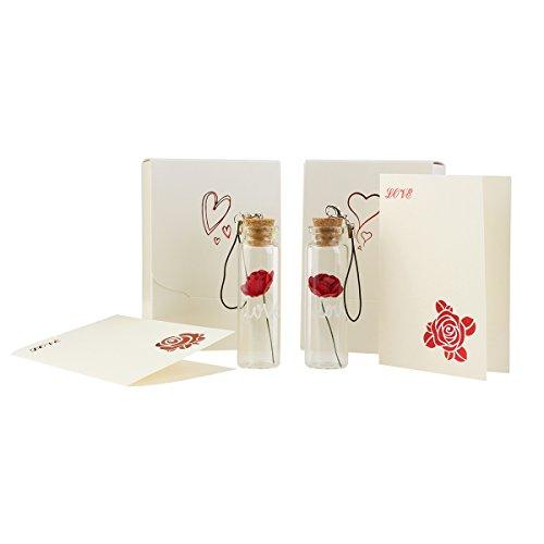 Rosenice Glas Korken Flaschen mit Rose und Grußkarten Muttertag Geschenke Geschenkideen für Frau oder Mama (2 Paar)
