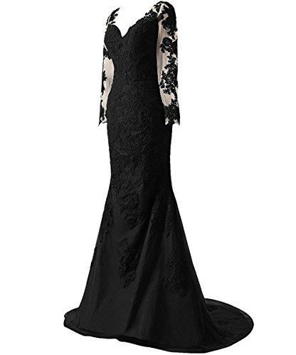 JAEDEN Donna Manica lunga Abiti da ballo V-collo Pizzo Sirena Abiti da sera Vestito da festa Nero