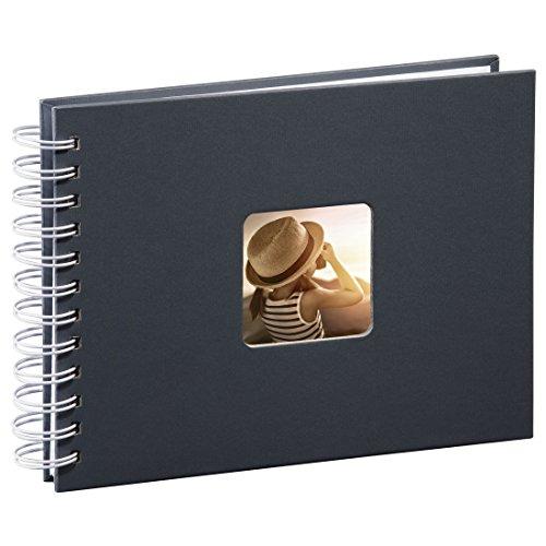 Hama Fotoalbum Spiralalbum (50 weiße Seiten, 25 Blatt, Größe 24 x 17 cm, Mit Ausschnitt für Bildeinschub, Fotobuch) grau