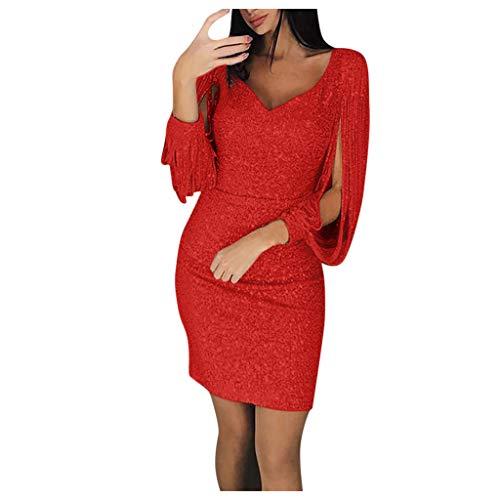 Briskorry Damen Party Kleider Elegant Sexy Glitzer Partykleid V Ausschnitt Langarm Minikleid Etui Kleid Enge Bleistiftkleid Abendkleider Dress
