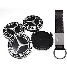 Set 4X Tapacubos 75mm Negro para Mercedes Logo Emblema Tapas para Llantas de Aleación (+