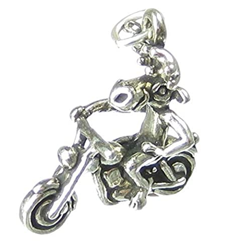 Moose on Motorbike sterling silver charm .925 x 1 Motorcycle charms SSLP2742