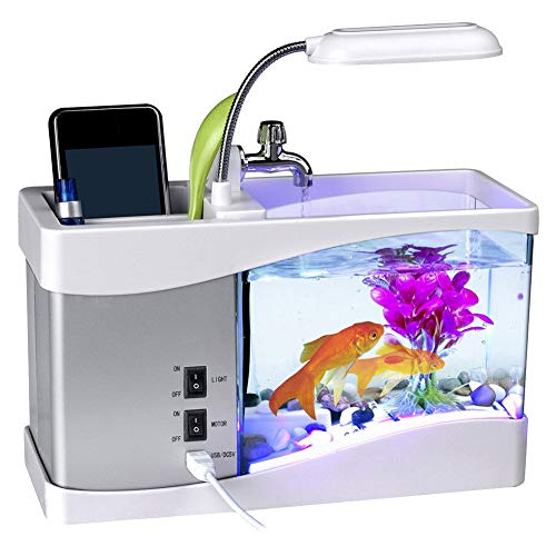 Alaojie USB Desktop Mini Fish Tank Aquarium LED Lamp Light LCD Screen Clock for Home Office (Fish Tank Screen)