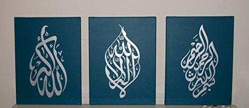 ie Islamische handgefertigt Bilder Wand Kunst Öl Gemälde auf Leinwand 3PCS für Wohnzimmer Home Dekorationen Holz gerahmt Teal Silver (Teal Dekorationen)