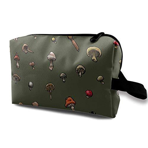 Mit Wristlet-Kosmetiktaschen Kleine Pilzmuster-Reise-tragbare Make-up-Tasche Reißverschluss-Geldbörsen-Aufhängetasche - Black Cow Geldbörse