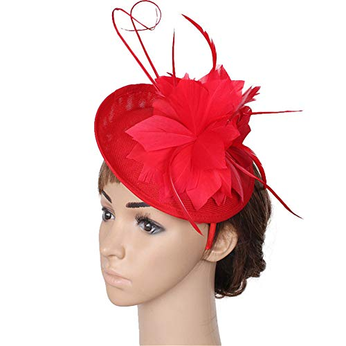 Fengbingl-ac Frauen Vintage Fascinator Hut Feder Blume Hochzeit Kopfschmuck Kopfschmuck Zubehör Halloween Royal Ascot Cocktail Tea Party Kentucky Derby-Teeparty-Kopfbedeckung (Farbe : Rosa)