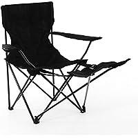 Campingstuhl Angelstuhl schwarz mit Fußablage Getränkehalter und Tragetasche stabiler Faltstuhl klappbar Stahlgestell