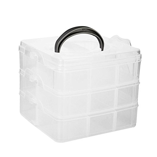Frcolor 3 couches 18 compartiments Boîte de rangement réglable en plastique Organisateur porte-étuis (blanc transparent)