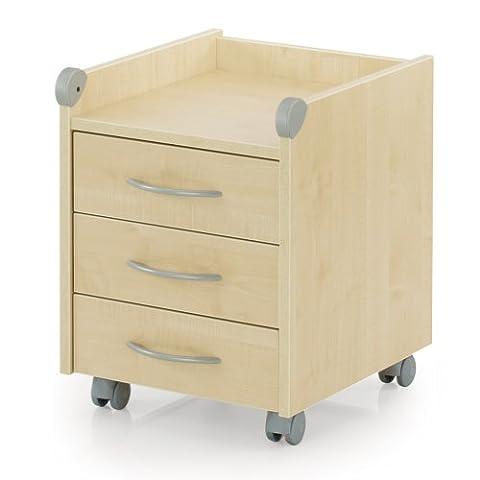 Kettler Rollcontainer aus Holz – Schreibtisch Rollcontainer mit 3 Schubladen – stabile Ausführung – geeignet für Büro und Kinderzimmer