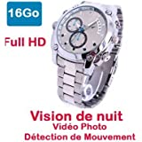 Montre Caméra Cachée Espion Full HD 1920x1080 Vision Nocturne Modèle SportHD16Go