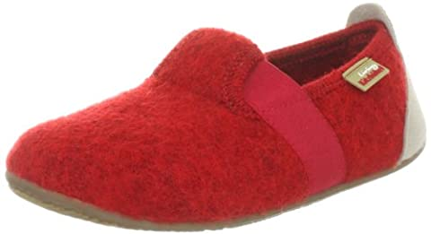 Living Kitzbühel T-Modell uni, Unisex-Kinder Flache Hausschuhe, Rot (350 rot), 28 EU