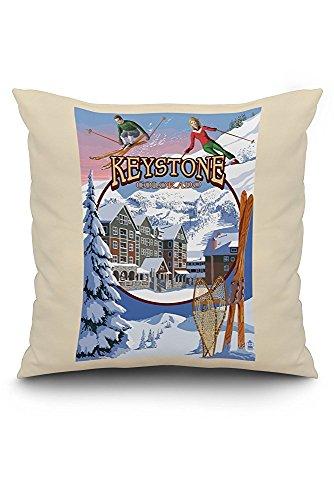 Keystone, Colorado Montage (20x20 Spun Polyester Pillow Case, White Border)
