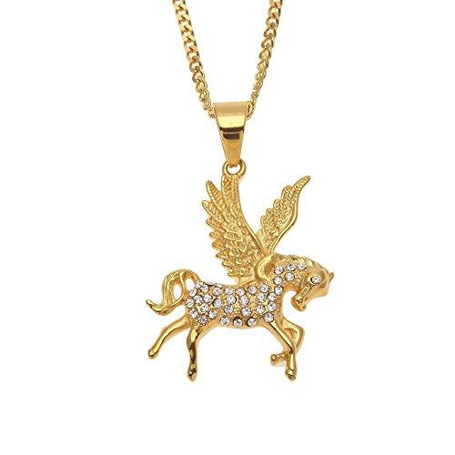 Aoligei Europa und die Vereinigten Staaten Street HIP-HOP Edelstahl Diamant griechische Mythologie Pegasus Anhänger Pegasus Pegasus Kette T