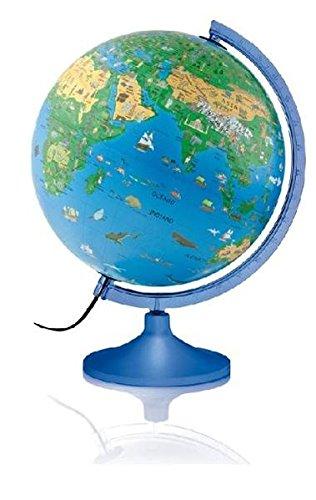 Atmosphere Family Solid: Kinderleuchtglobus 30 cm, blaue Kunststoffausstattung, mit Begleitkarte (Globus für Kinder)