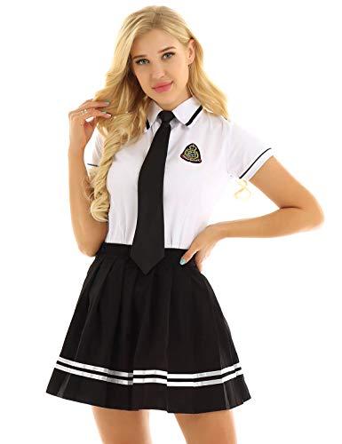 CHICTRY Damen Schulmädchen Kostüm 3tlg. Sets Kurzarm Hemd Shirt & Faltenrock & Krawatte Anime Uniform Cosplay Fasching Verkleidung Gr. S-XXXL Weiß&schwarz XX-Large -