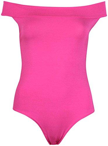 Damen Übergröße schulterfrei Damen Stretch Ärmellos einfarbig Turnzug Bodysuit TOP Rosa - Kirschrot