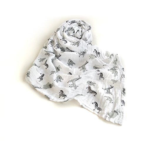Couverture pour bébé - Luxueuse - Douce - En mousseline de coton pur - Unisexe - Grand format : 120 x 120 cm - Tissu pour rot - Nid d'ange - Housse de poussette - Cadeau de Baby Shower