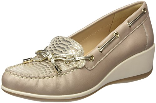 Geox Damen D ARETHEA A Mokassin, Beige (Antique Rose/Silver), 39 EU - Perforierte Leder-plattform