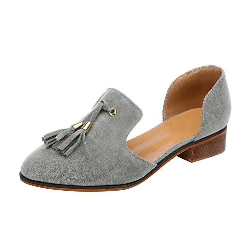 VECDY Damen Schuhe,Räumungsverkauf- Herbst Frauen Damen Herbst Schuhe Mode Ankle Solide Quasten Leder Romon Einzelne Schuhe Lässige niedrige Ferse Schuhe Flache Schuhe Mode Stiefel(grau,39)