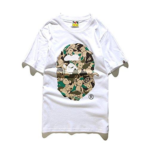BOMOVO BAPE Baumwolle Kurzarm T-Shirt Weiß