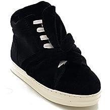 heart red Shoes scarpe bimba bambina autunnali invernali alla caviglia sportive da ginnastica casual comode con finti lacci e cerniera scamosciate con fiocco colore nera numero 30