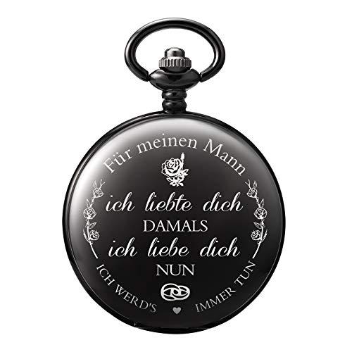 TREEWETO Taschenuhr mit Gravur Kette Herren Schwarz Geschenk zum Geburtstag Hochzeitstag Jahrestag Ehemann