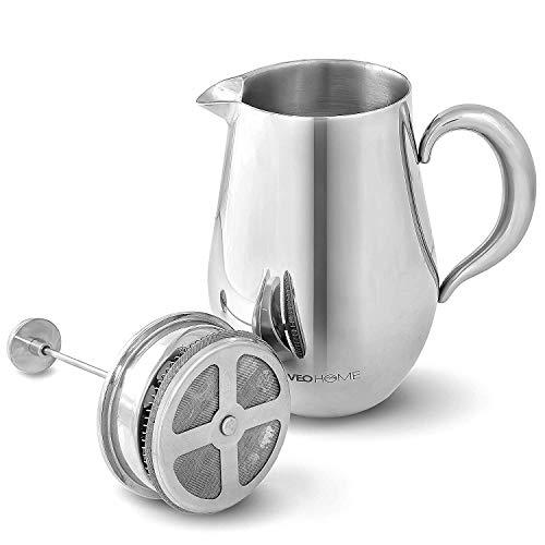 VeoHome French Press Kaffeebereiter Kaffeekanne unzerbrechlich und hält Ihren Kaffee Dank der Doppelhülle Lange warm (1 Liter)