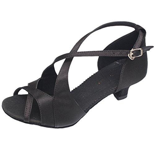 Oasap Women's Peep Toe Cross Strap Medium Heels Latin Dance Shoes Black