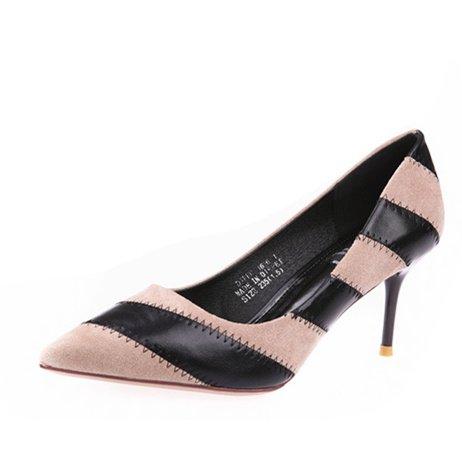 Zebra Peep-toe (mdrw-lady/Elegant/Arbeit/Freizeit/Spring Sharp Head Sexy Farbe Zebra Stripe feine Ferse 7cm Heels Flach Schuhe Beige, 36)