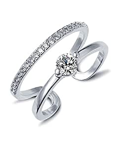 Meenaz Jewellery Adjustable Free Size Silver Finger Ring For Girls And Women -557