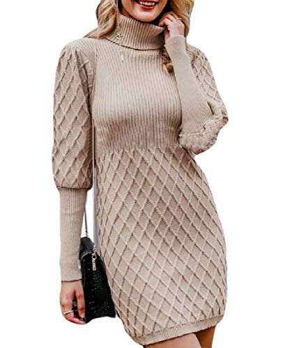 securiuu Womens Fashion Winter Warm Loose Turtleneck Slim Fit Long Puff Sleeve Pullover Sweater Dress Gamel M -