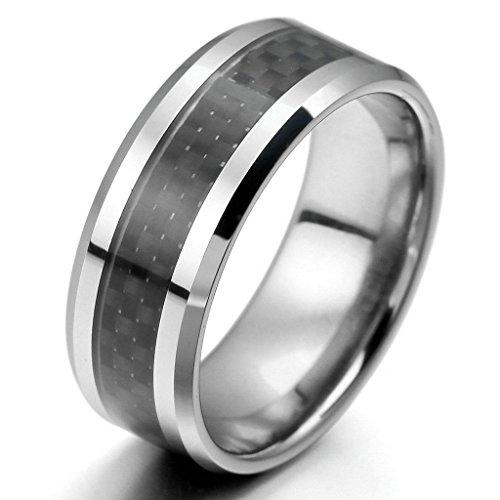Epinki,Mode Schmuck Herren Tungsten Kohlenstoff Fiber Band Ringe Silber Schwarz Bequem Fit Poliert Size 11
