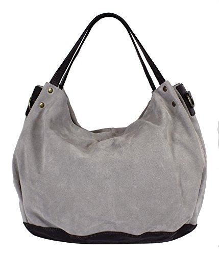 Montte Di Jinne - Hobo borse Donna Dark Chocolate/ Light Grey
