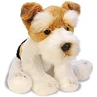 Suki Yomiko 12115 - Fox Terrier Cagnolino di Peluche Seduto, 12.7 cm, Bianco, Marrone/Nero